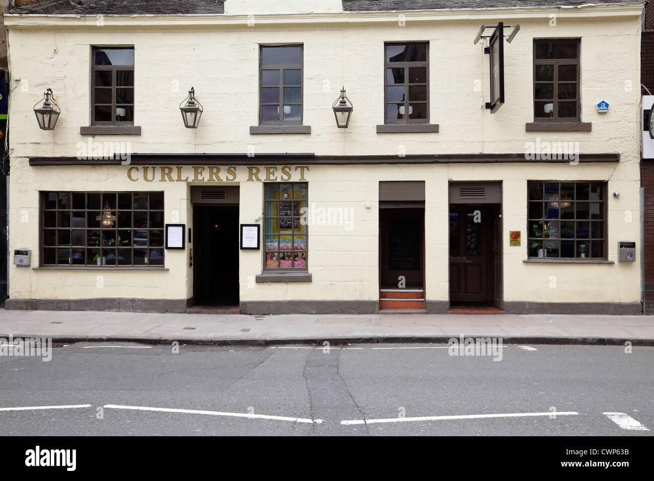 La Curlers resto Pub de Byres Road en el West End de Glasgow, Escocia, Reino Unido Imagen De Stock
