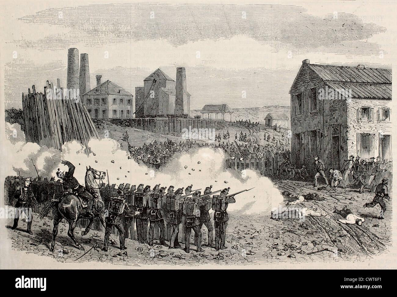 Represión de Disturbios Epine cool mina, Bélgica Imagen De Stock