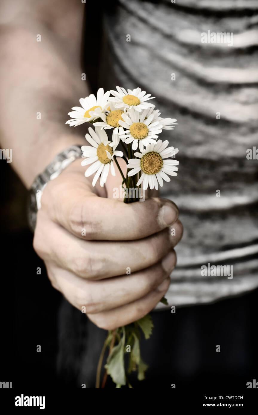 Sosteniendo flores Foto de stock