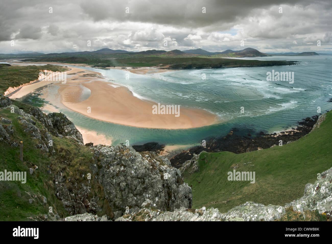 Vista aérea de la arena en la playa Foto de stock