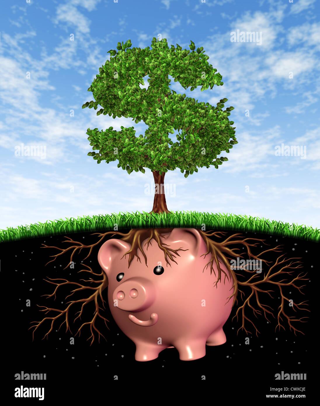 Dinero semilla en cuanto a la financiación de la inversión y el crecimiento financiero símbolo con un árbol en la Foto de stock