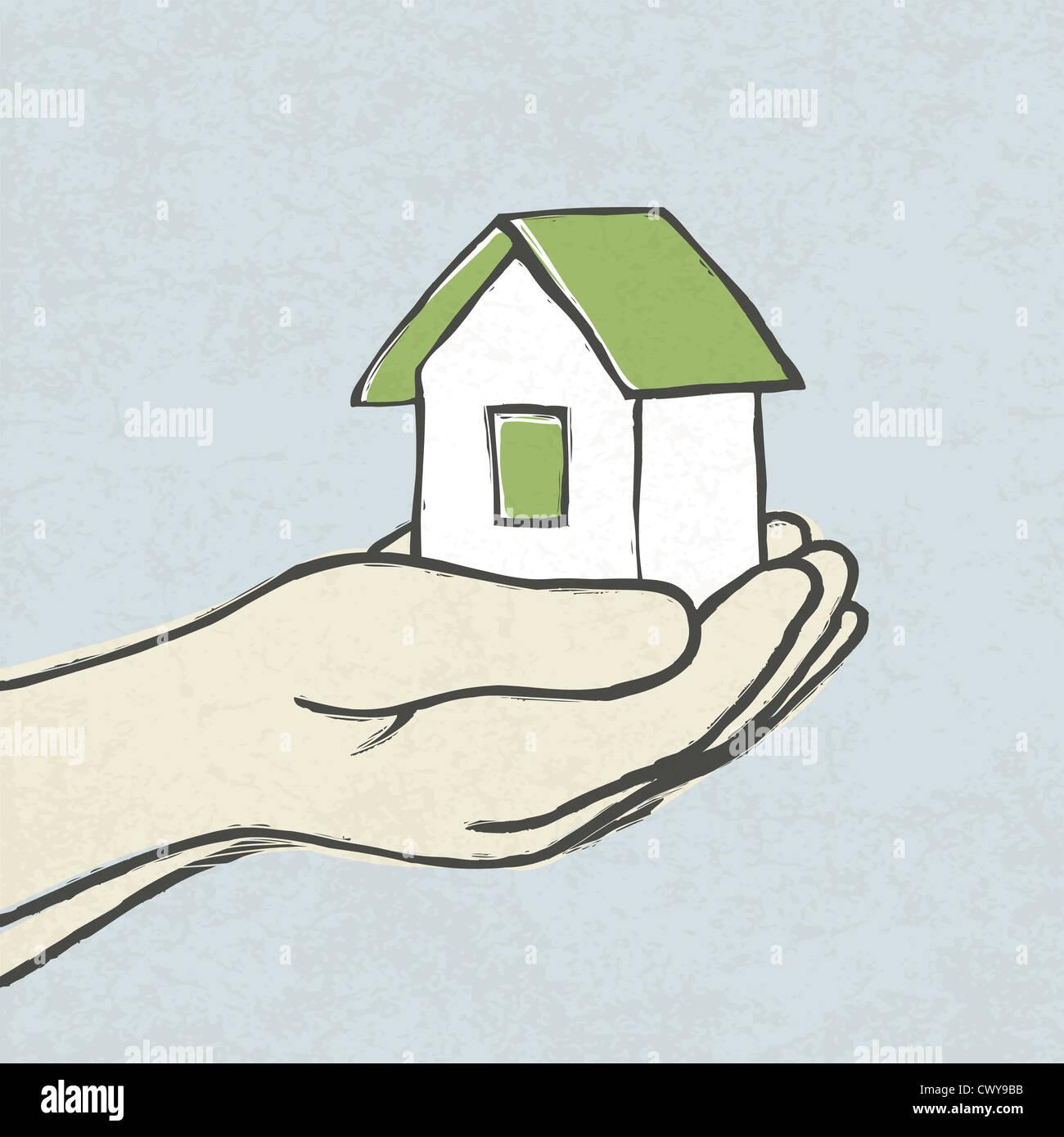 Casa Verde en las manos. Ilustración del concepto Imagen De Stock