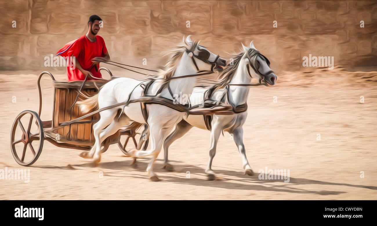 Hombre en carroza vistiendo túnica roja, caballos blancos. Foto de stock