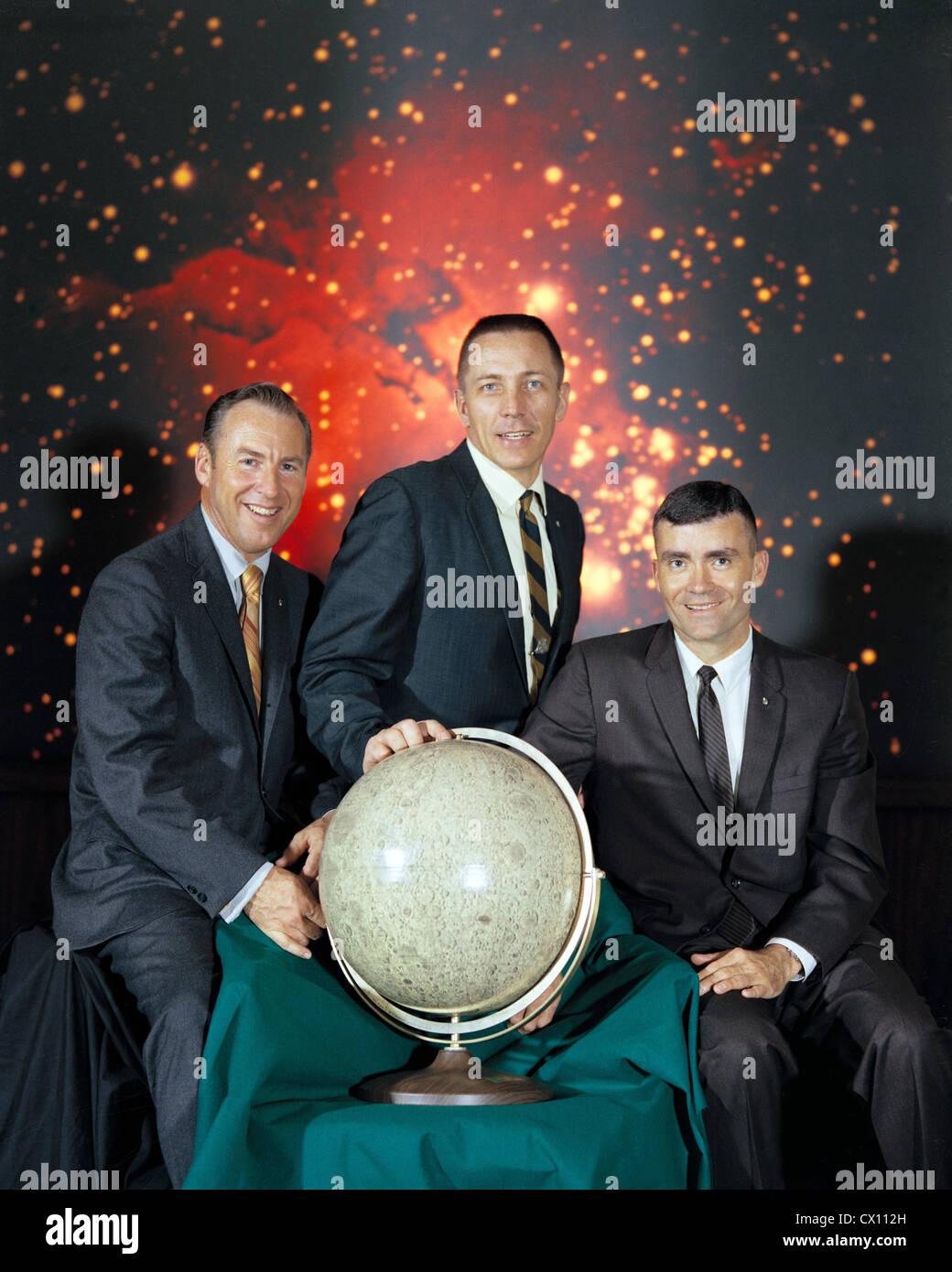 La tripulación del Apolo 13, de izquierda a derecha, el comandante de la misión, Jim Lovell, piloto del Imagen De Stock