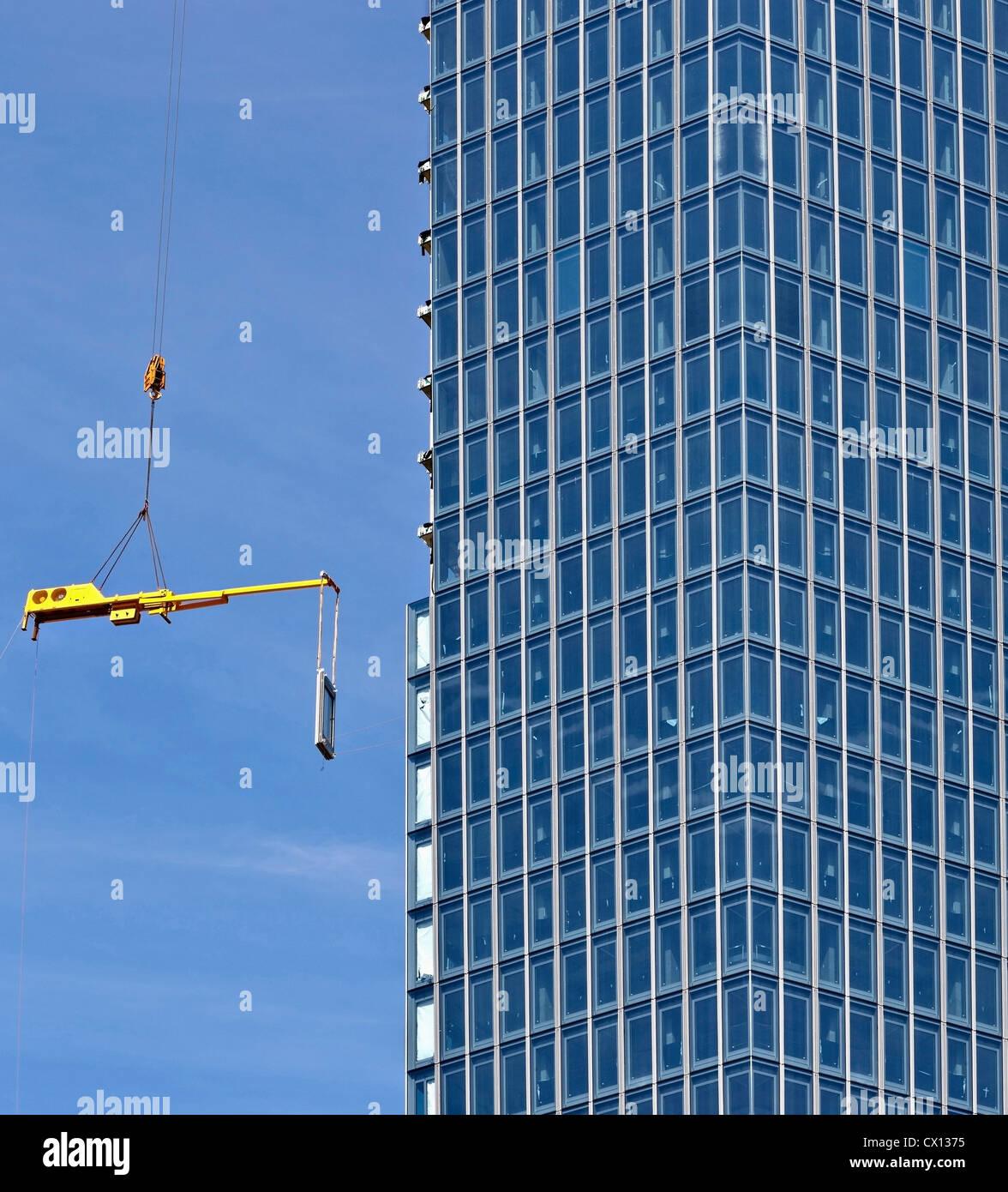 La construcción del nuevo Banco Monetario Europeo, Frankfurt, Hesse, Alemania Foto de stock