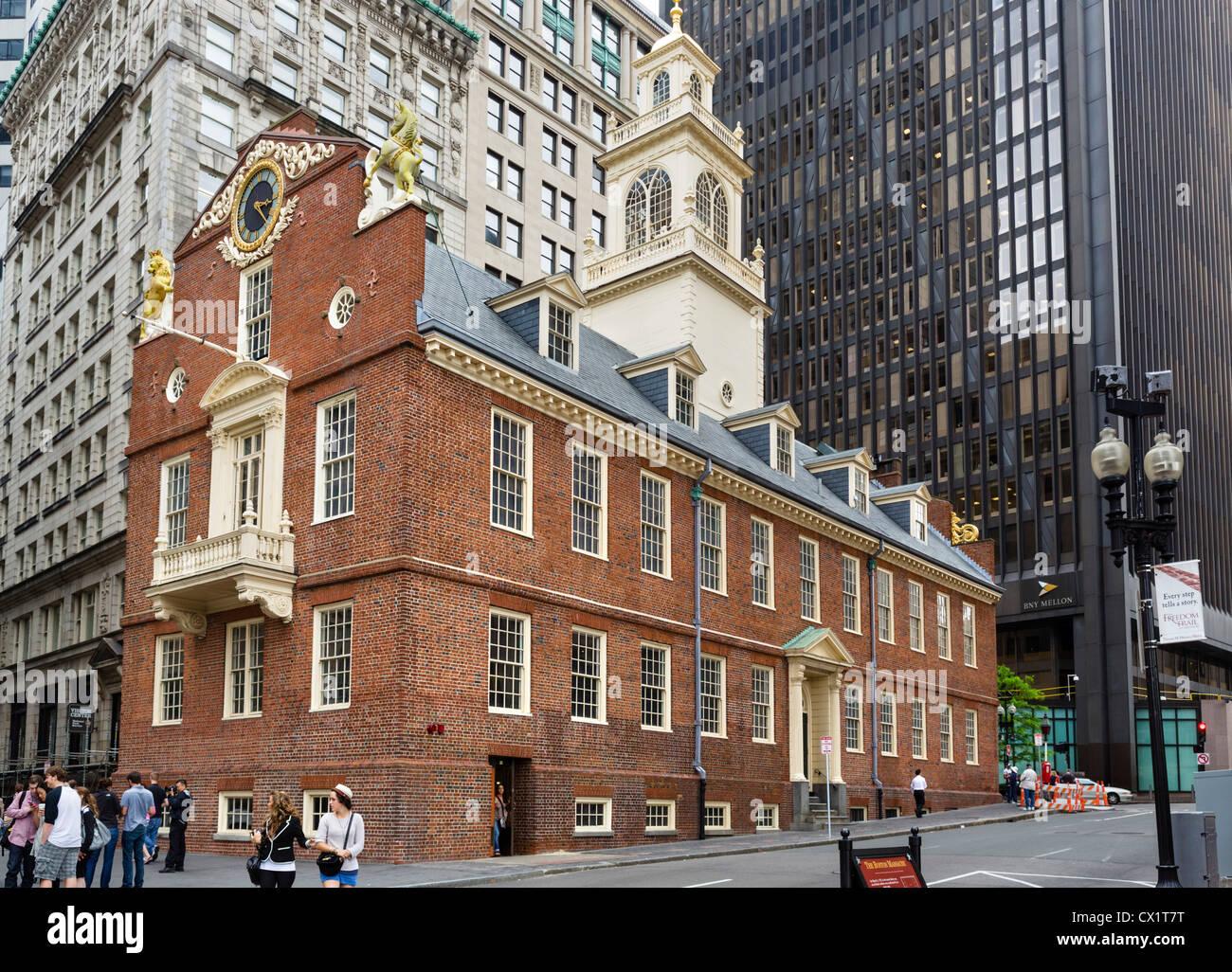 El histórico Old State House Museum, Boston, Massachusetts, EE.UU. Imagen De Stock