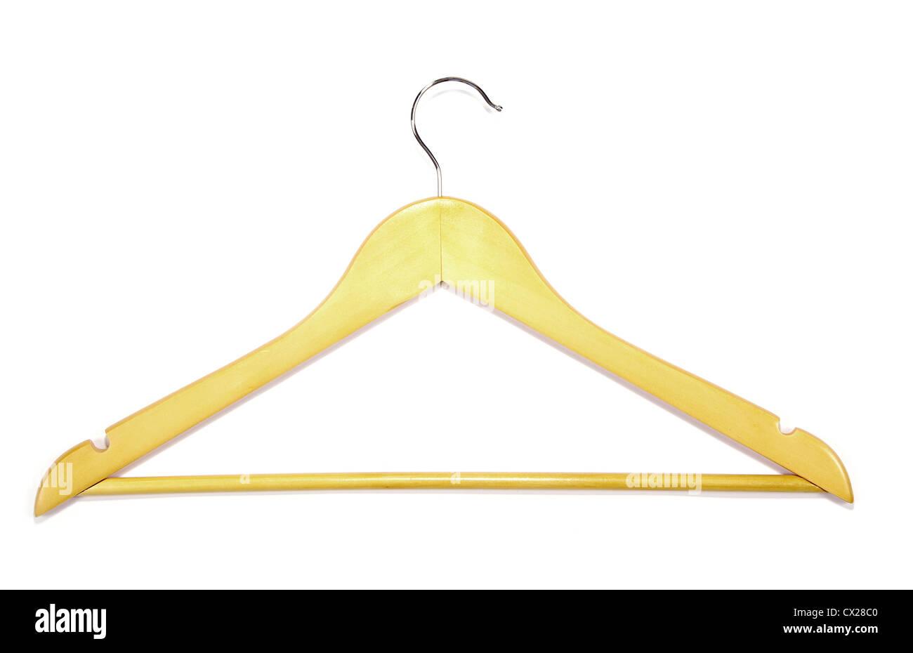 Colgador de ropa para pantalones aislado en blanco. Foto de stock