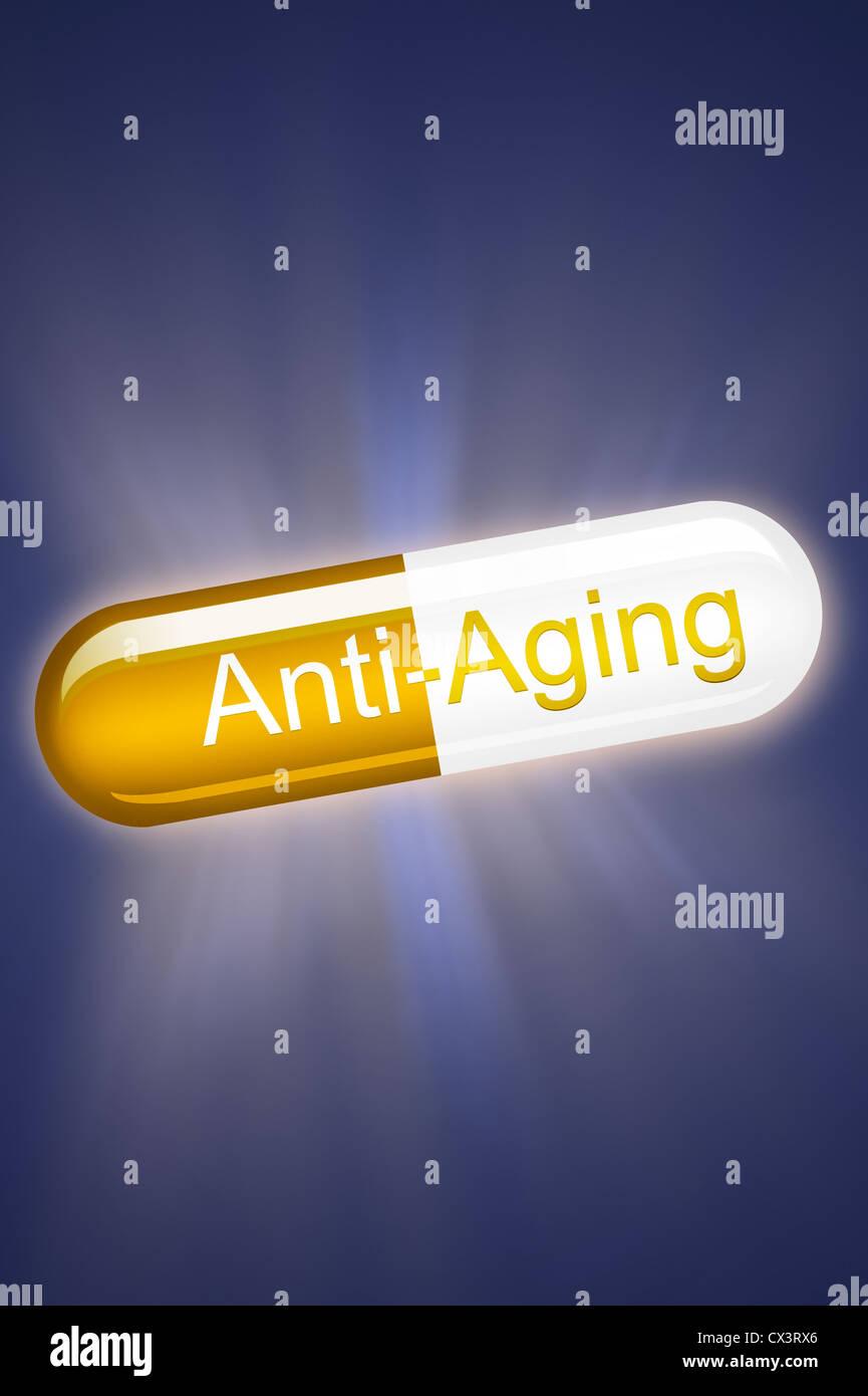 Concepto antiedad píldora cápsula luminosa cura milagrosa Imagen De Stock