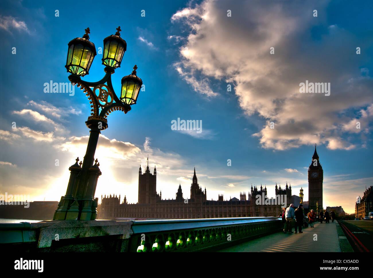 Las casas del parlamento, Westminster, Londres, Inglaterra, Reino Unido. Foto de stock