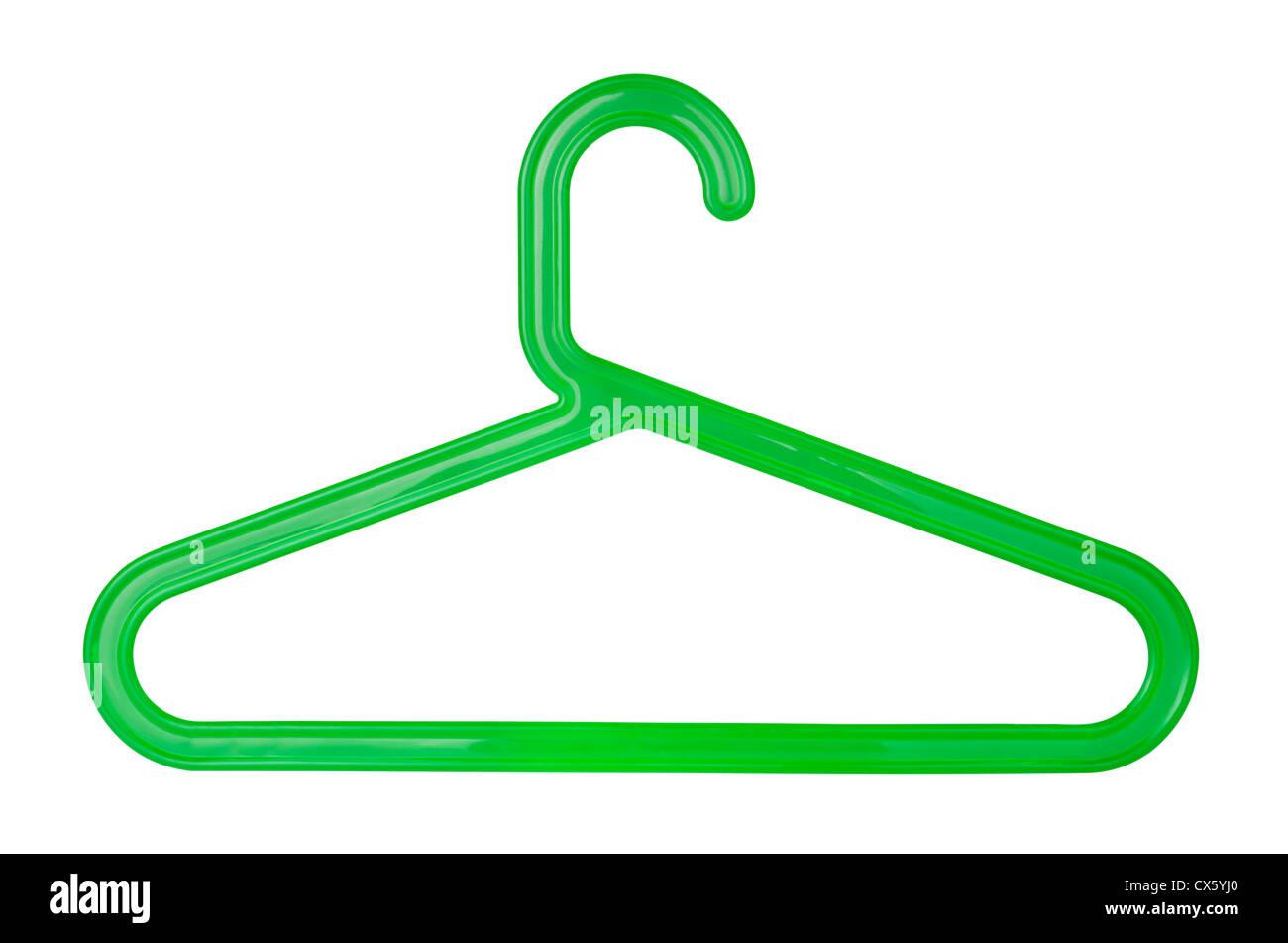 Percha de plástico verde aislado en blanco Foto de stock
