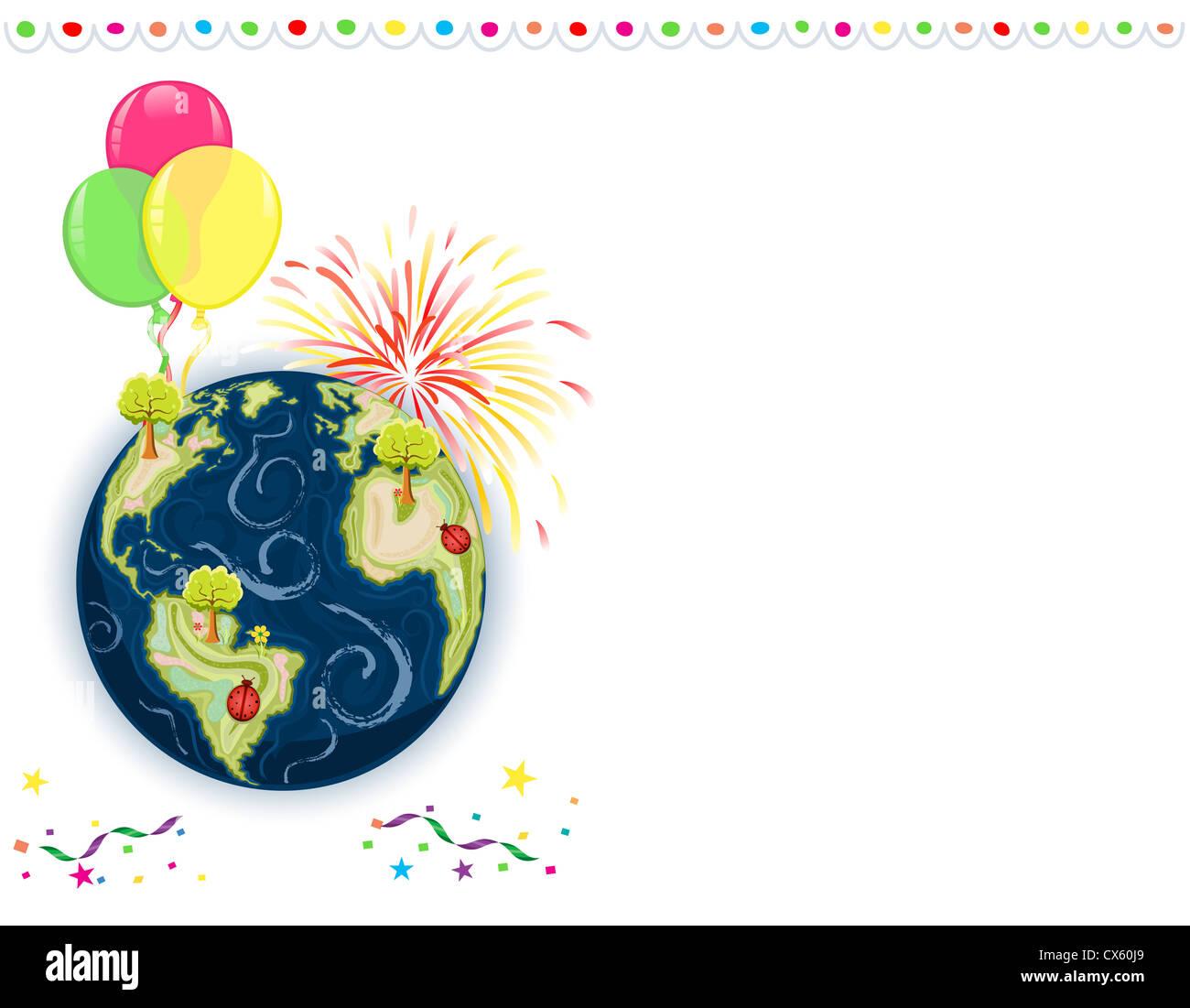Celebración del Día de la tierra - Tarjeta de felicitación con globos, fuegos artificiales y confeti. Imagen De Stock