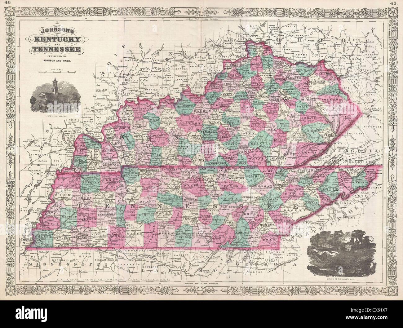 1866 Johnson Mapa de Kentucky y Tennessee Foto & Imagen De Stock ...