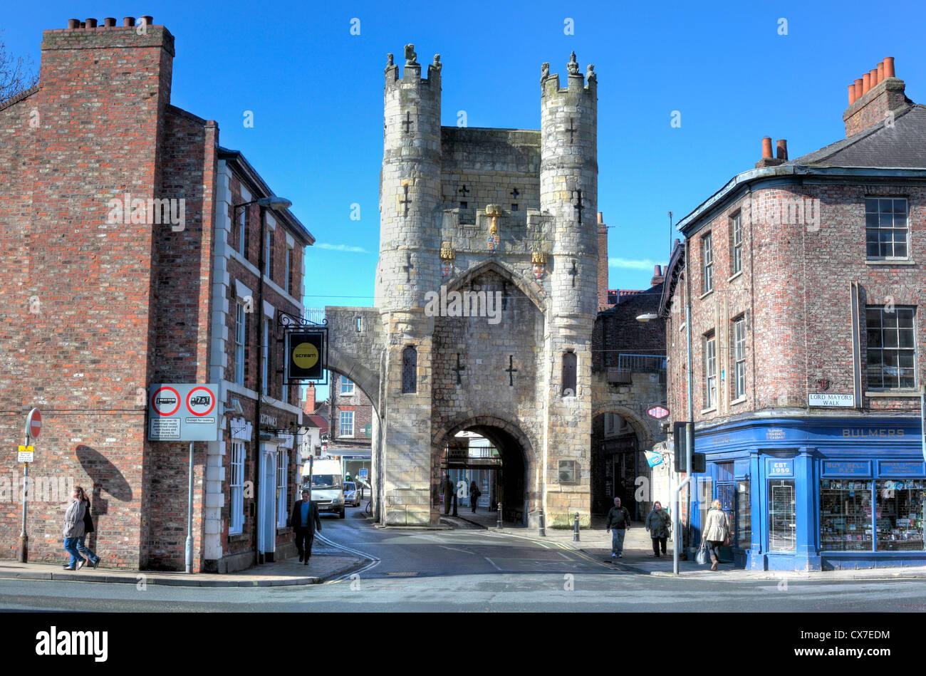 La entrada sur de York, Micklegate Bar, York, North Yorkshire, Inglaterra, Reino Unido. Imagen De Stock