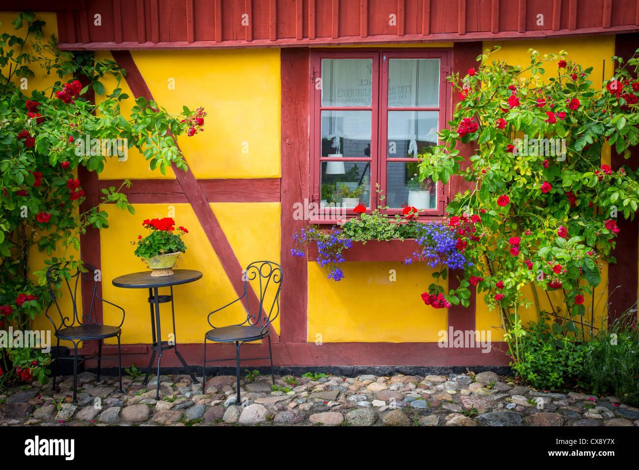 Edificio tradicional, típico del sur de la provincia de Skåne en Suecia Imagen De Stock