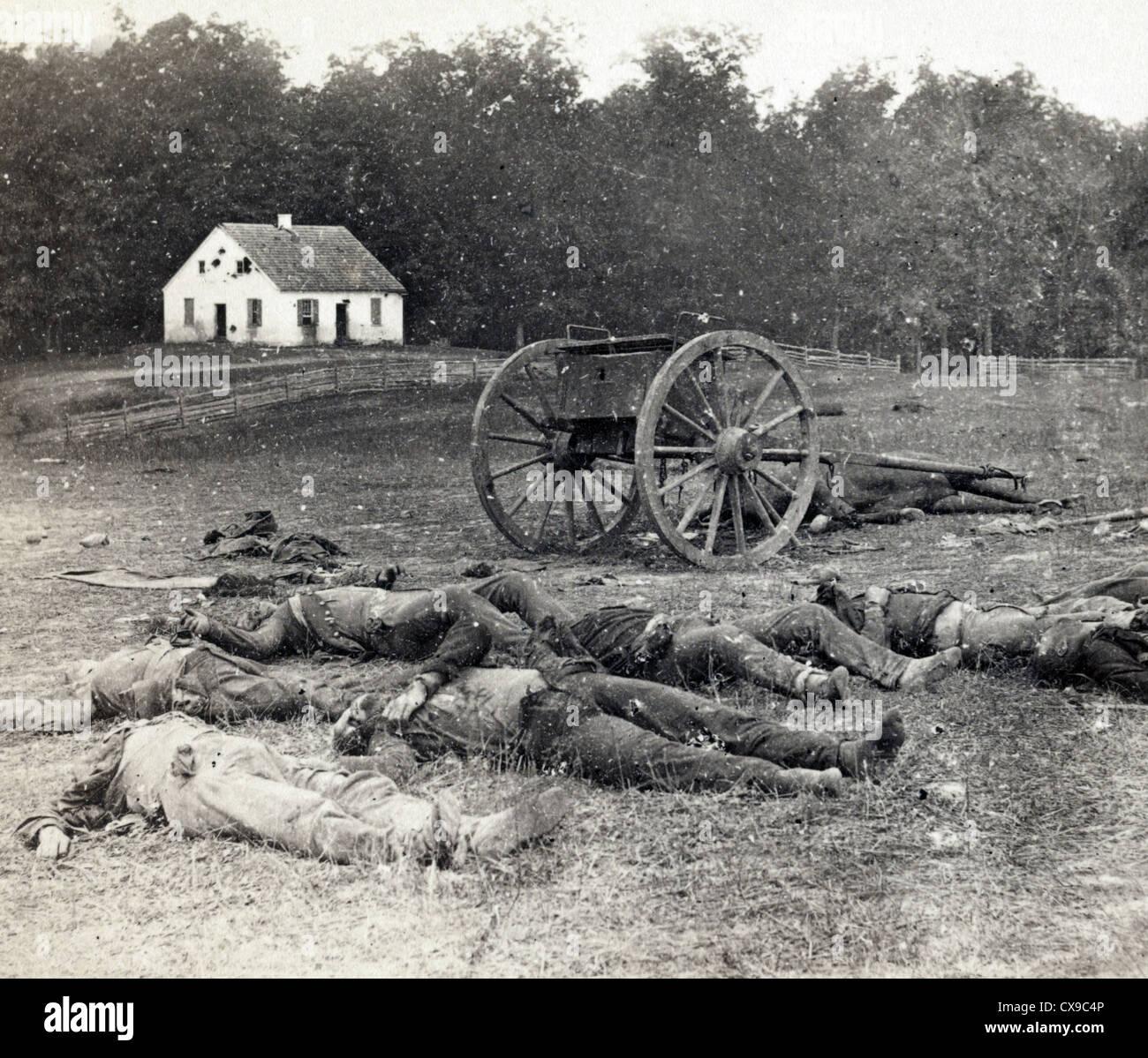 La Batalla de Antietam, también conocida como la Batalla de Sharpsburg, Guerra Civil Americana Imagen De Stock