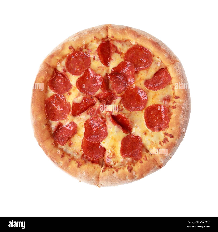 Para ver pizza aislado sobre fondo blanco. Imagen De Stock