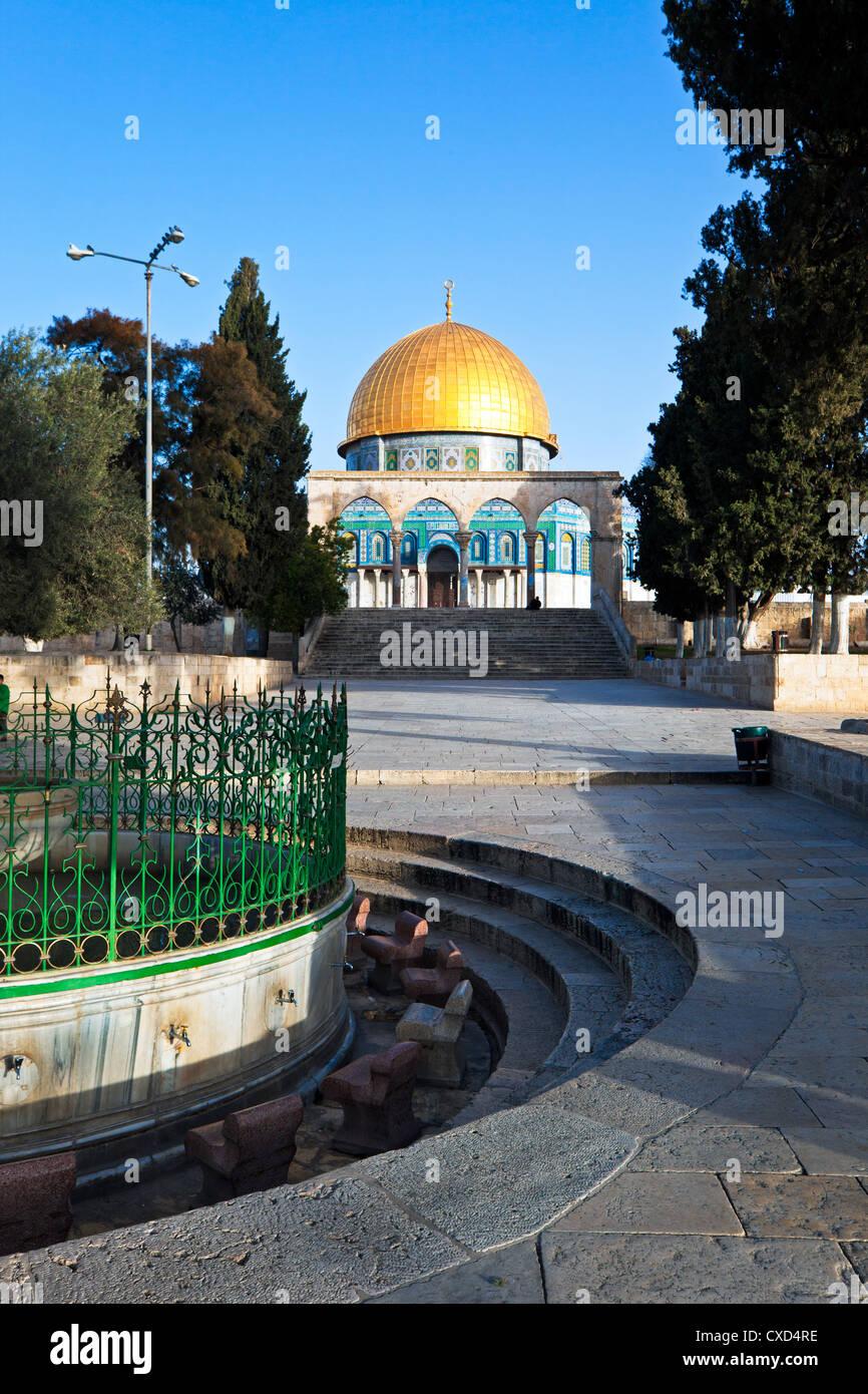 La cúpula de la roca y el Monte del Templo, la ciudad vieja, Patrimonio Mundial de la UNESCO, Jerusalem, Israel, Imagen De Stock