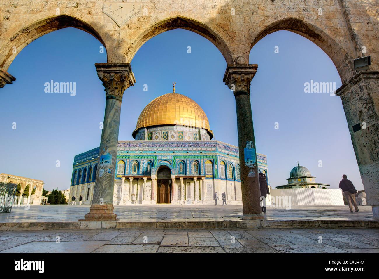 La cúpula de la roca, el Monte del Templo, la ciudad vieja, Patrimonio Mundial de la UNESCO, Jerusalem, Israel, Imagen De Stock