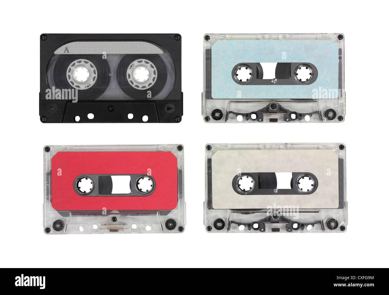Casetes de audio en blanco Vintage con trazado de recorte. Imagen De Stock