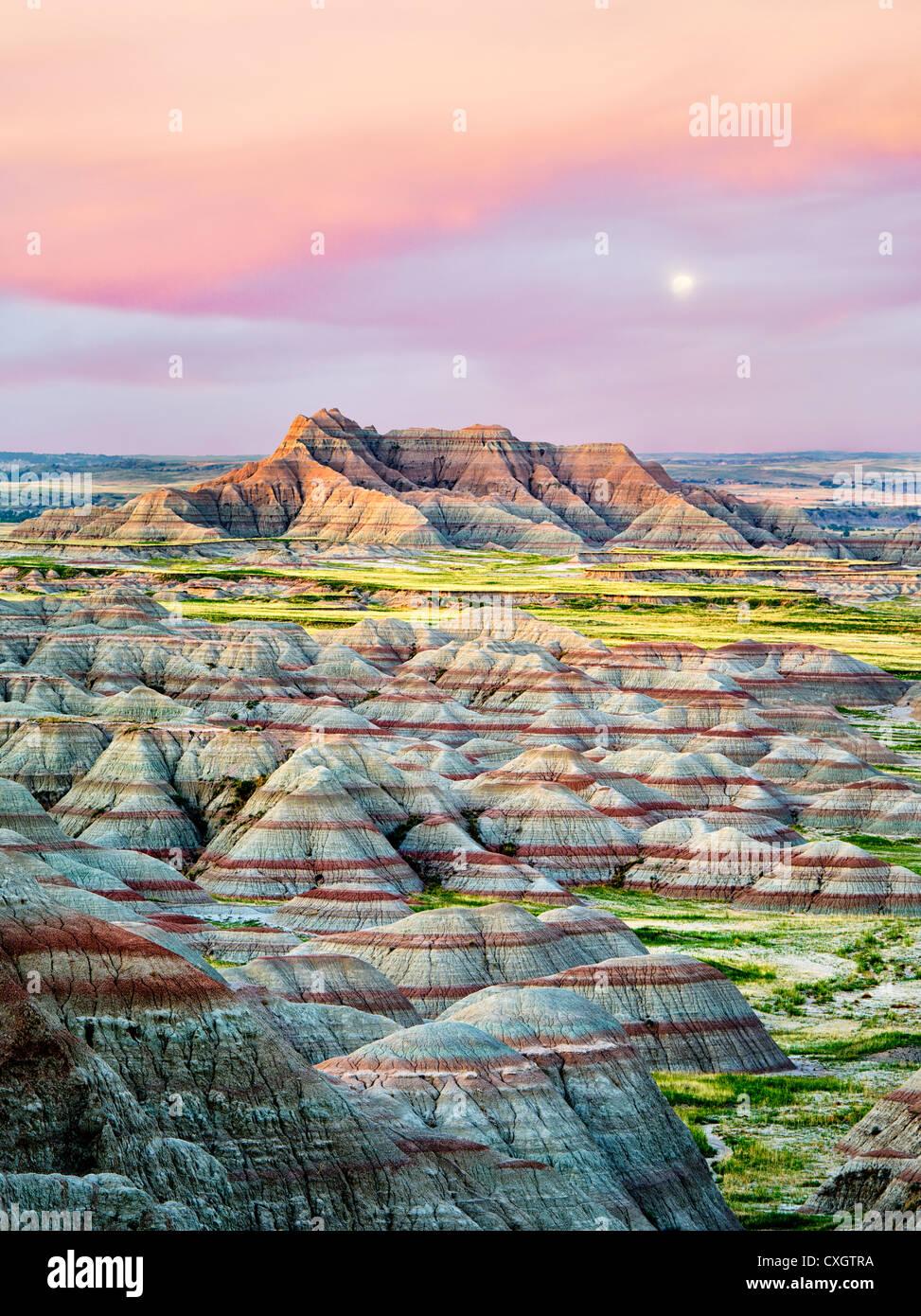 Formaciones de colores en el Parque Nacional Badlands, Dakota del Sur Imagen De Stock