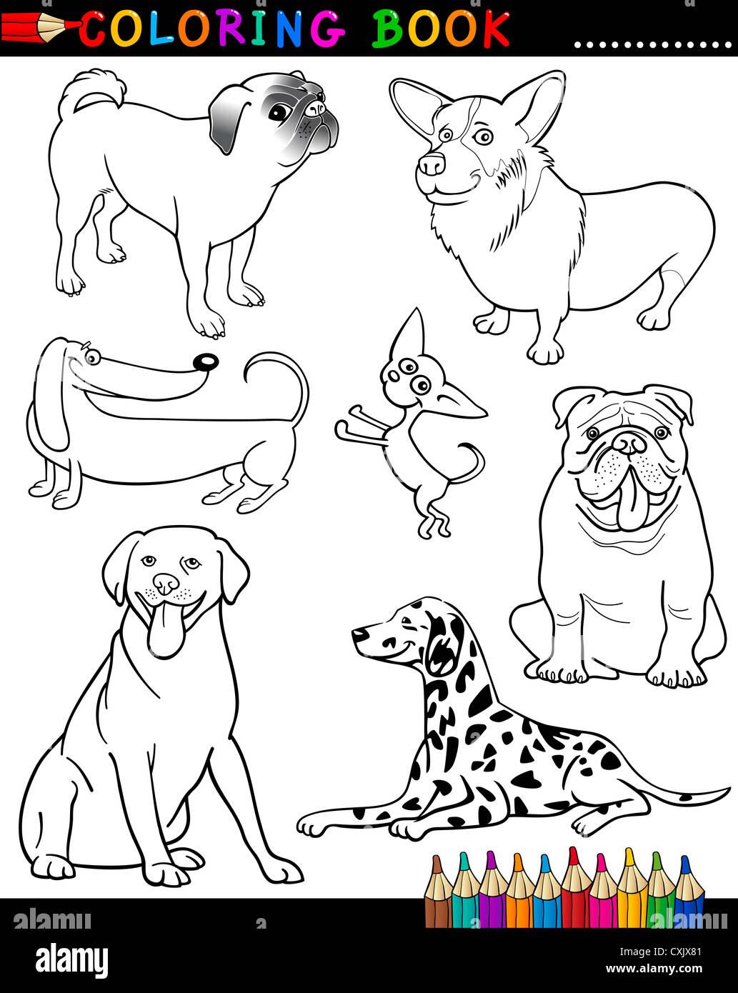 Libro Para Colorear O Página Cartoon Ilustración De Perros