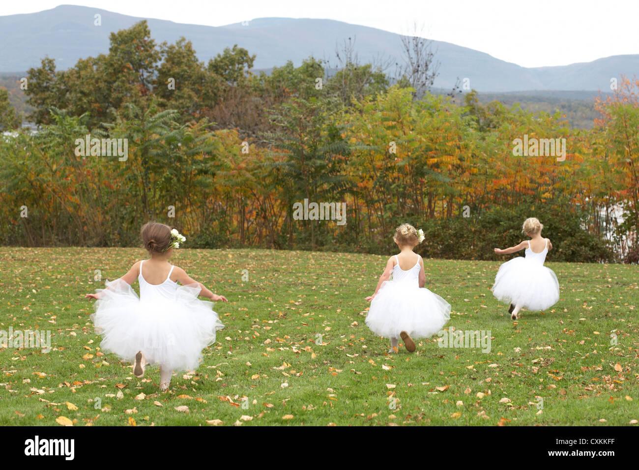 Las niñas corriendo en trajes de ballet en un campo Imagen De Stock