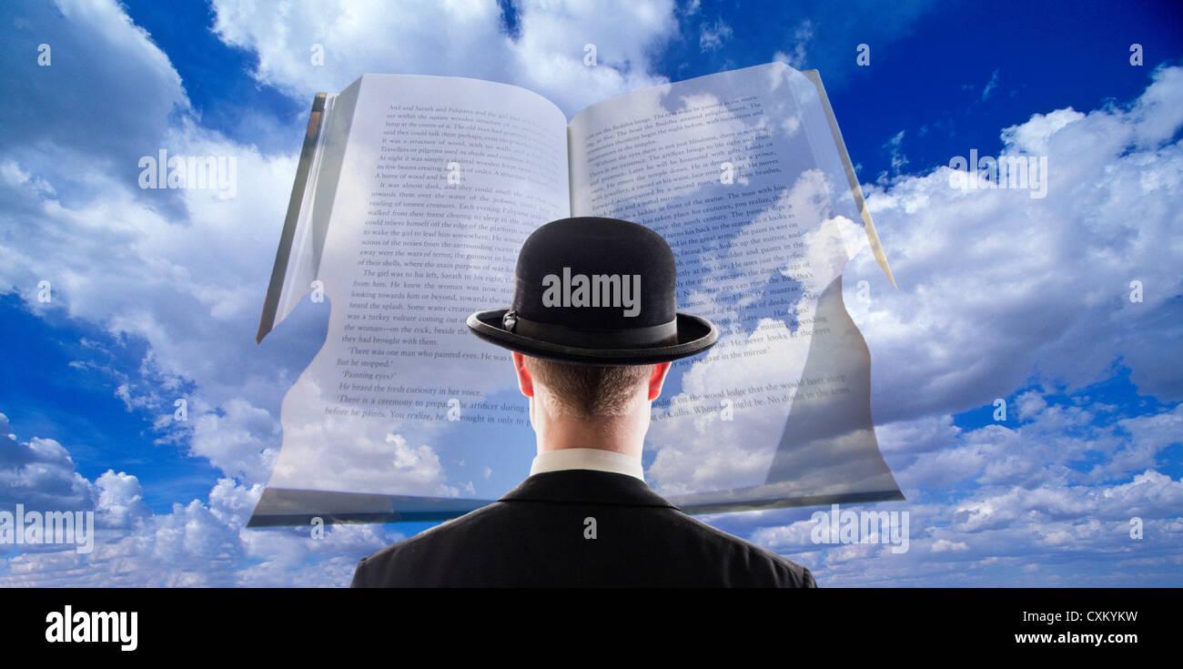 Hombre Mirando Libros Y Nubes, Surrealista Vista De Libro