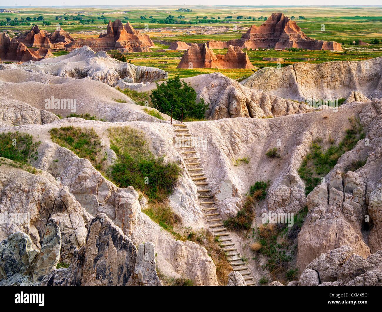 Escalera en la muesca Trail. El Parque Nacional Badlands, Dakota del Sur. Imagen De Stock