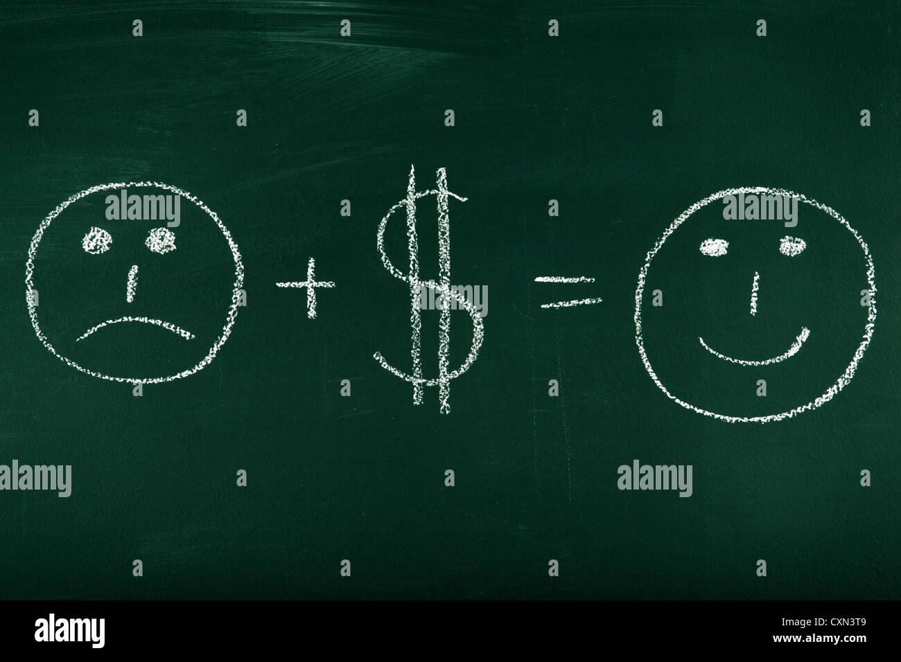 El dinero puede cambiar tu vida - concepto ilustrado sobre la pizarra Imagen De Stock
