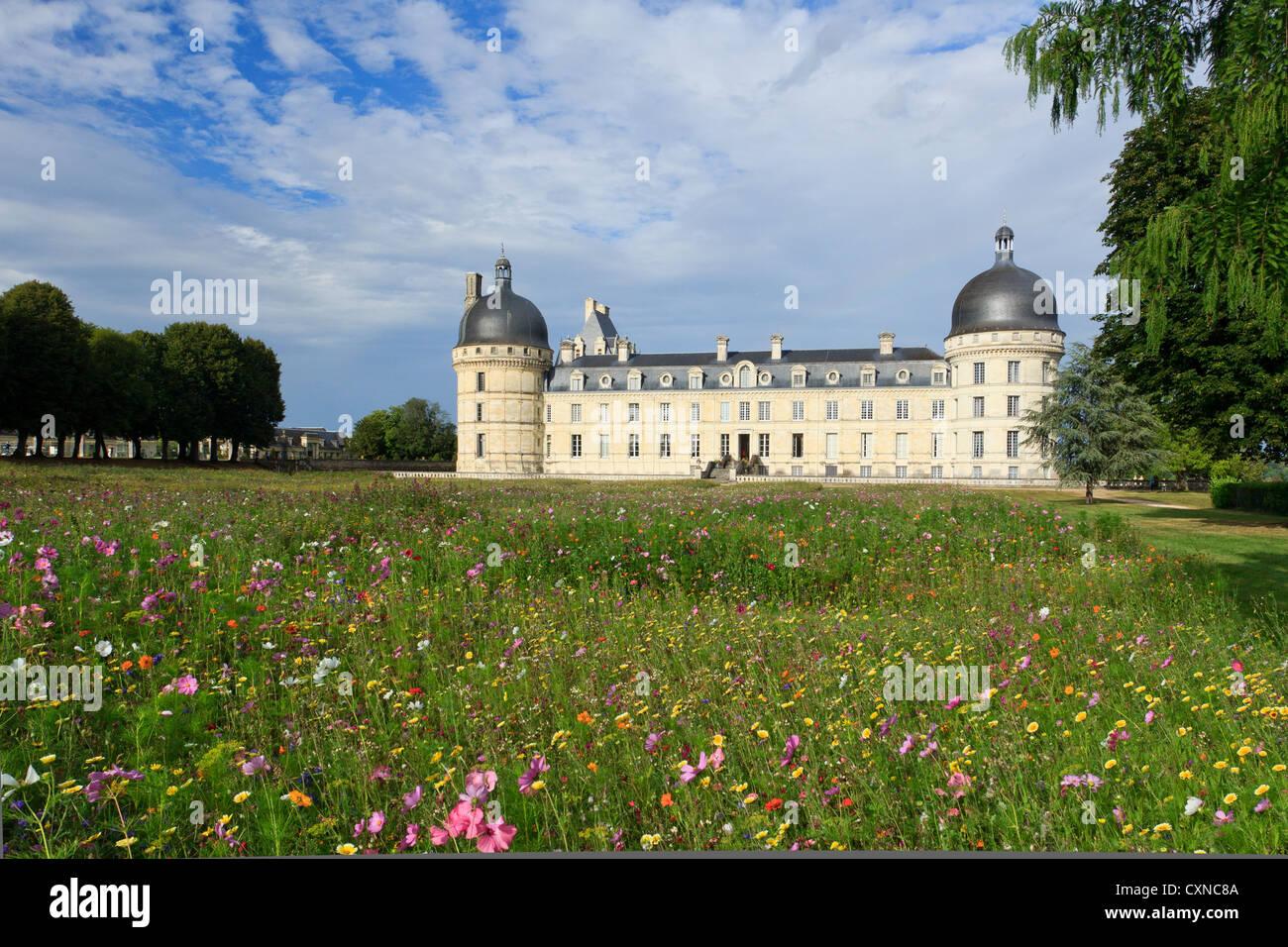 Francia, Indre, el castillo de Valençay, y el prado florido Imagen De Stock
