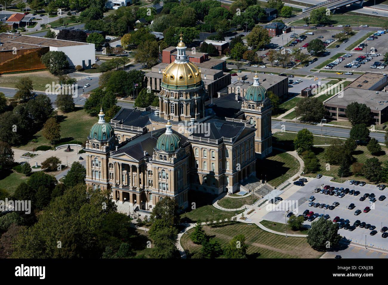 Fotografía aérea del capitolio del estado de Des Moines, Iowa Foto de stock