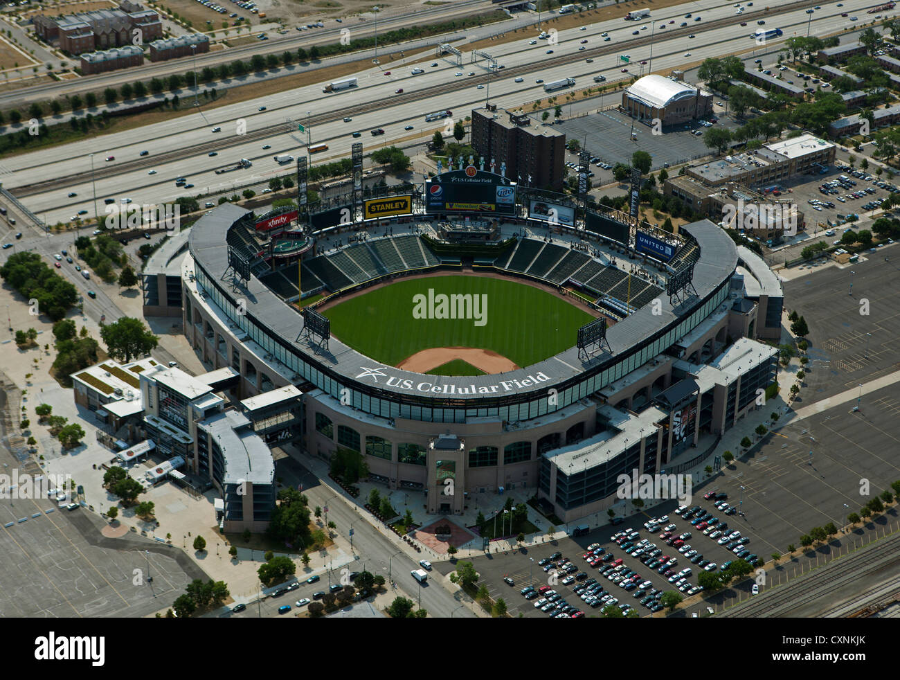 Fotografía aérea U.S. Cellular Field, Cominsky Park, Chicago, Illinois Imagen De Stock
