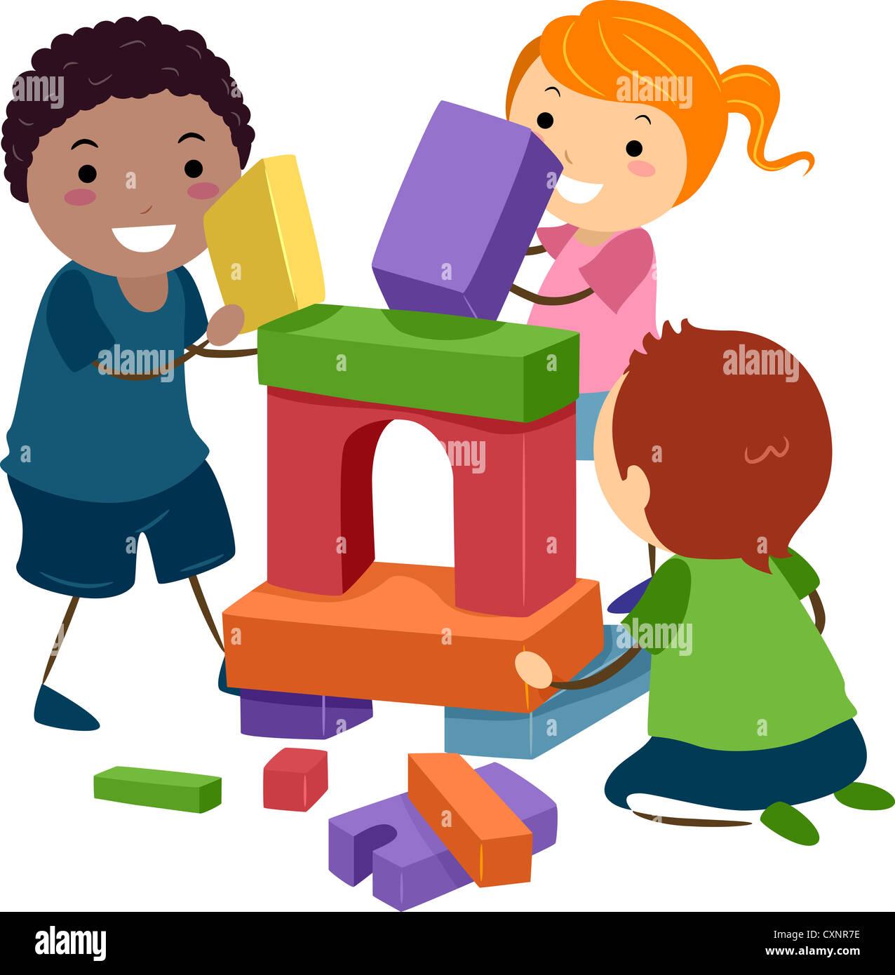 Ilustración de Stick niños jugando con bloques de construcción ...