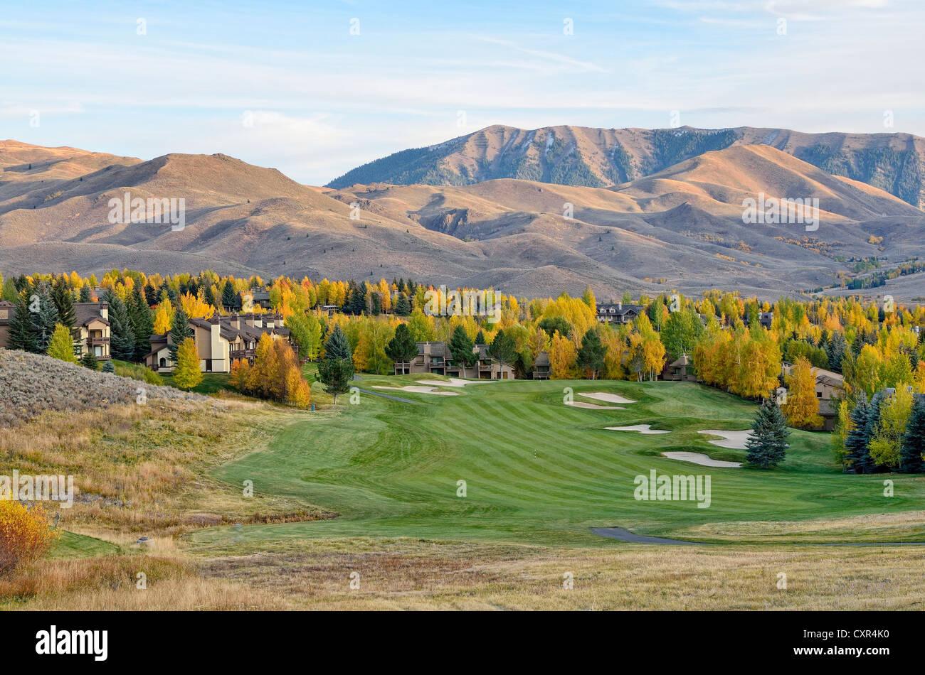 Elkhorn Village Golf Course, noche, humor, Sun Valley, Idaho, USA, PublicGround Foto de stock