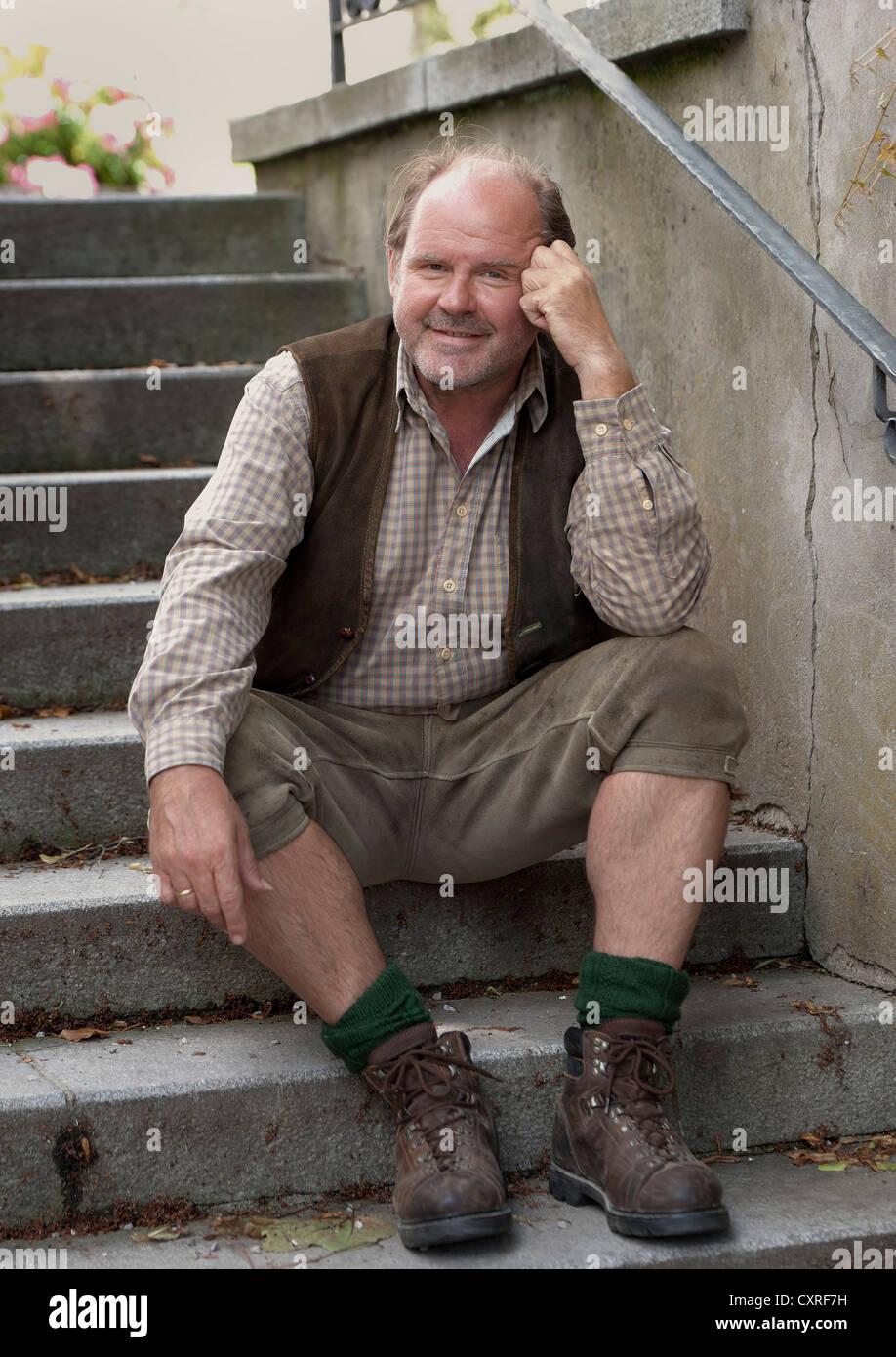 ActorAugust Schmoelzer en una foto llamada, el rodaje de la película para televisión 'Die Landaerztin' Imagen De Stock