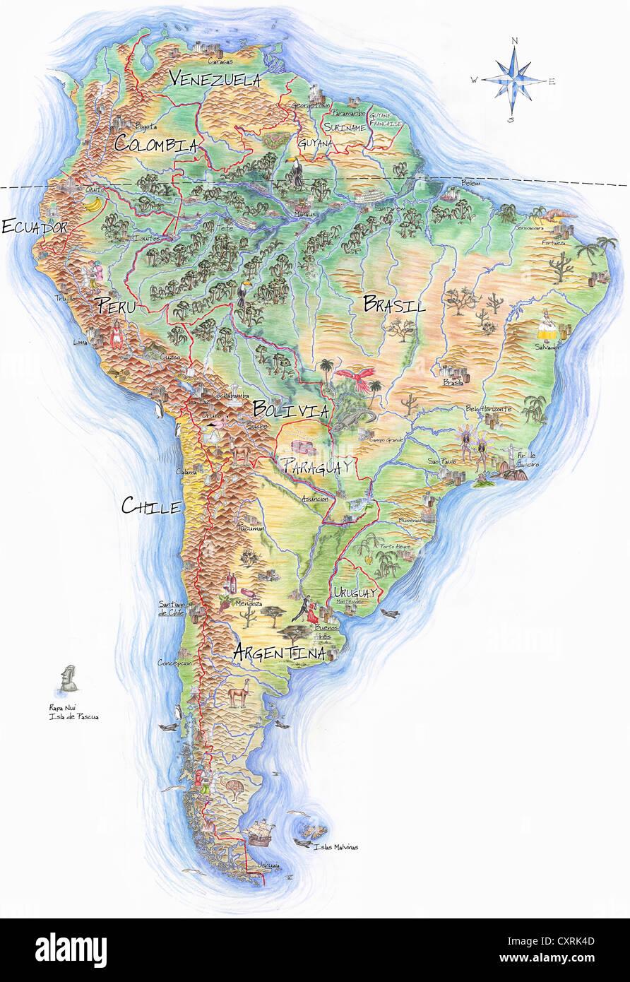 Mapa dibujado a mano de América del Sur Imagen De Stock