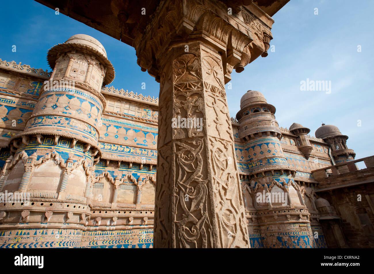 Palacio de Man Singh, Gwalior Fort o Fortaleza, Gwalior, Madhya Pradesh, India, Asia Foto de stock