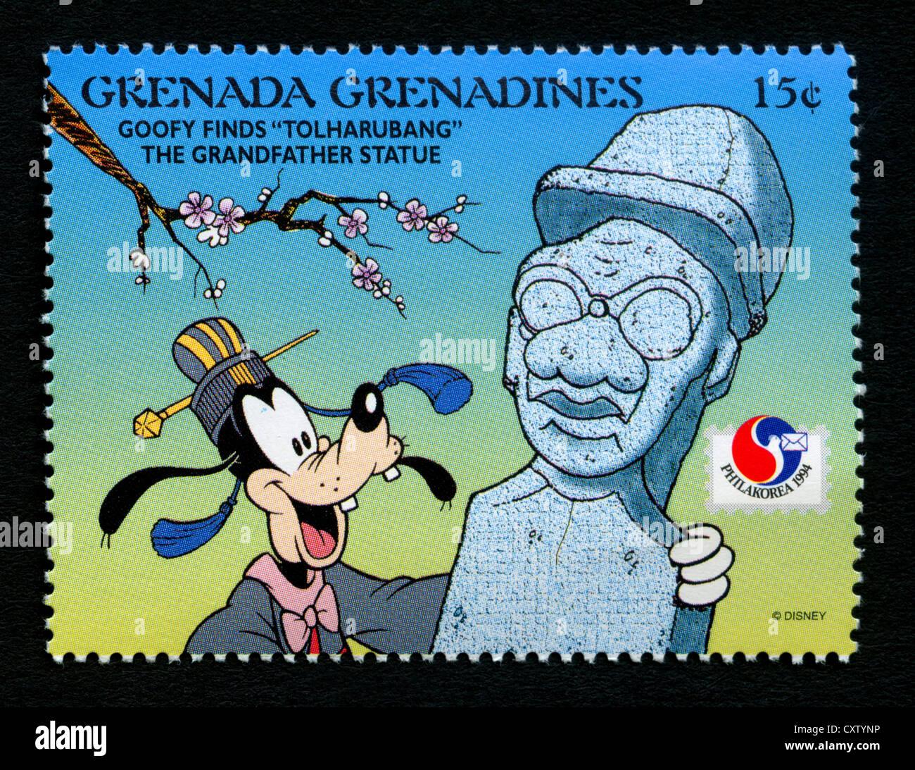 Sello de granada - personajes de dibujos animados de Disney - Goofy Foto de stock