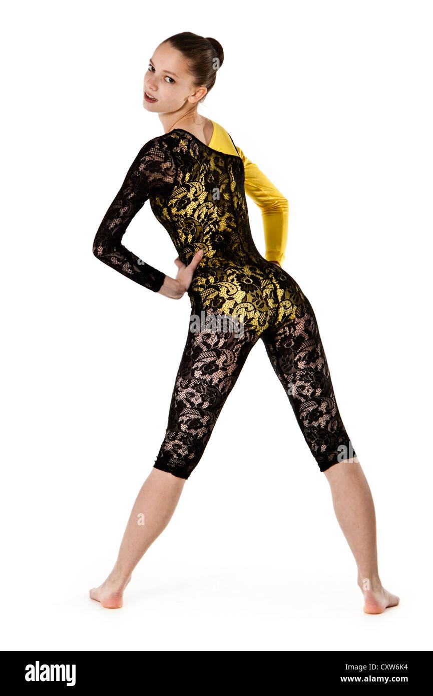 En bailarina adolescente moderno traje de danza jazz   comercial ... 84ec9ab956e