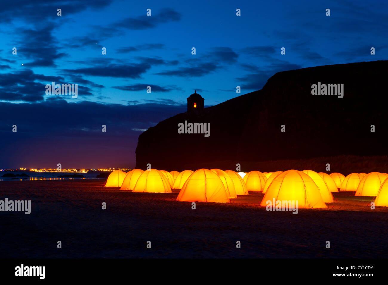 En el campamento de la paz Mussenden, Co. de Derry, Irlanda del Norte Imagen De Stock