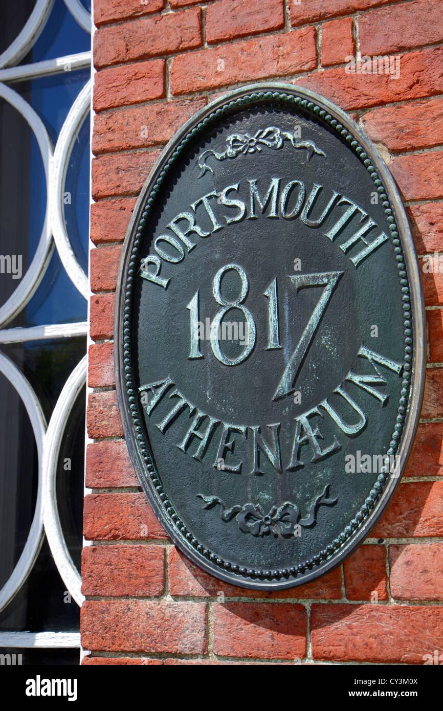 New Hampshire Portsmouth Market Square Congress Street Portsmouth Ateneo Ateneo biblioteca de membresía sin Imagen De Stock