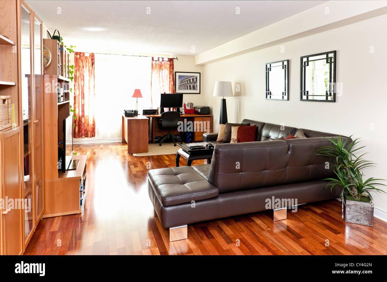Salón con piso de madera - Ilustración del fotógrafo portfolio Imagen De Stock