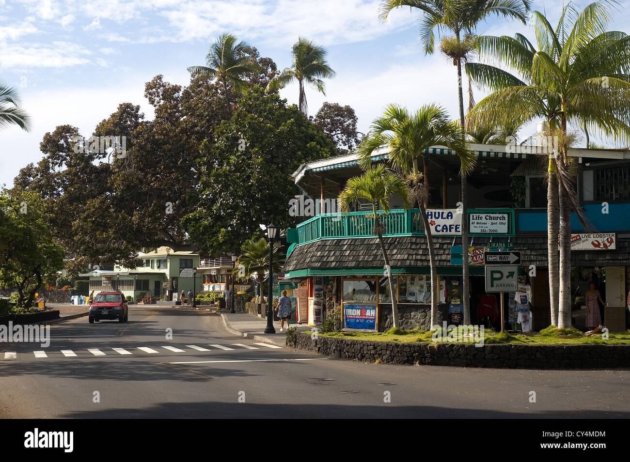 Elk284-2832, Hawaii HI, Kailua-Kona, Street Scene Foto de stock