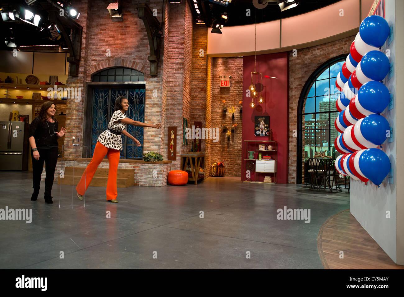 La Primera Dama Michelle Obama participa en un pop la cuestión del segmento de preguntas y respuestas durante Imagen De Stock