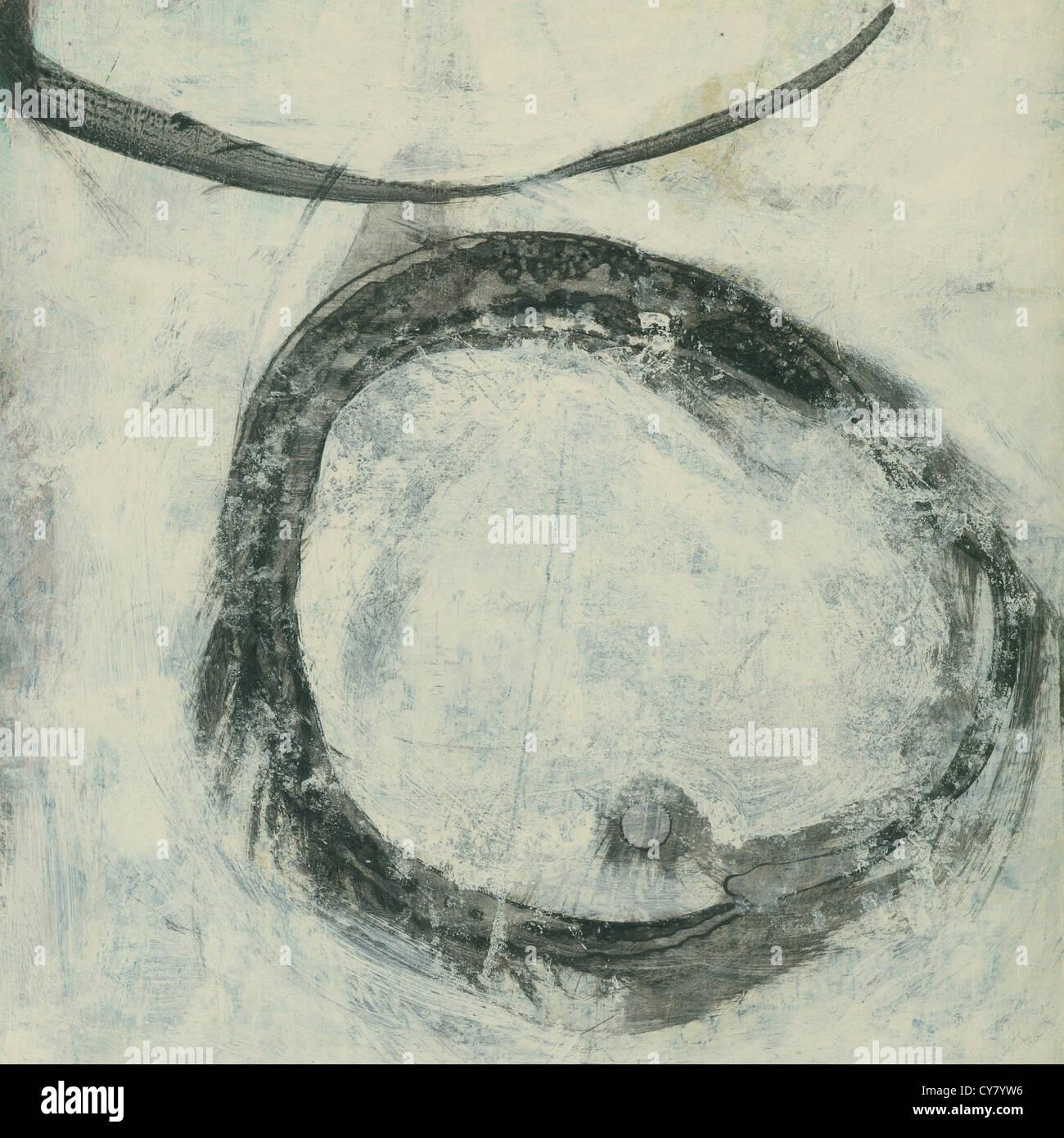 Pintura abstracta círculo zen de tinta negra sobre beige. Imagen De Stock