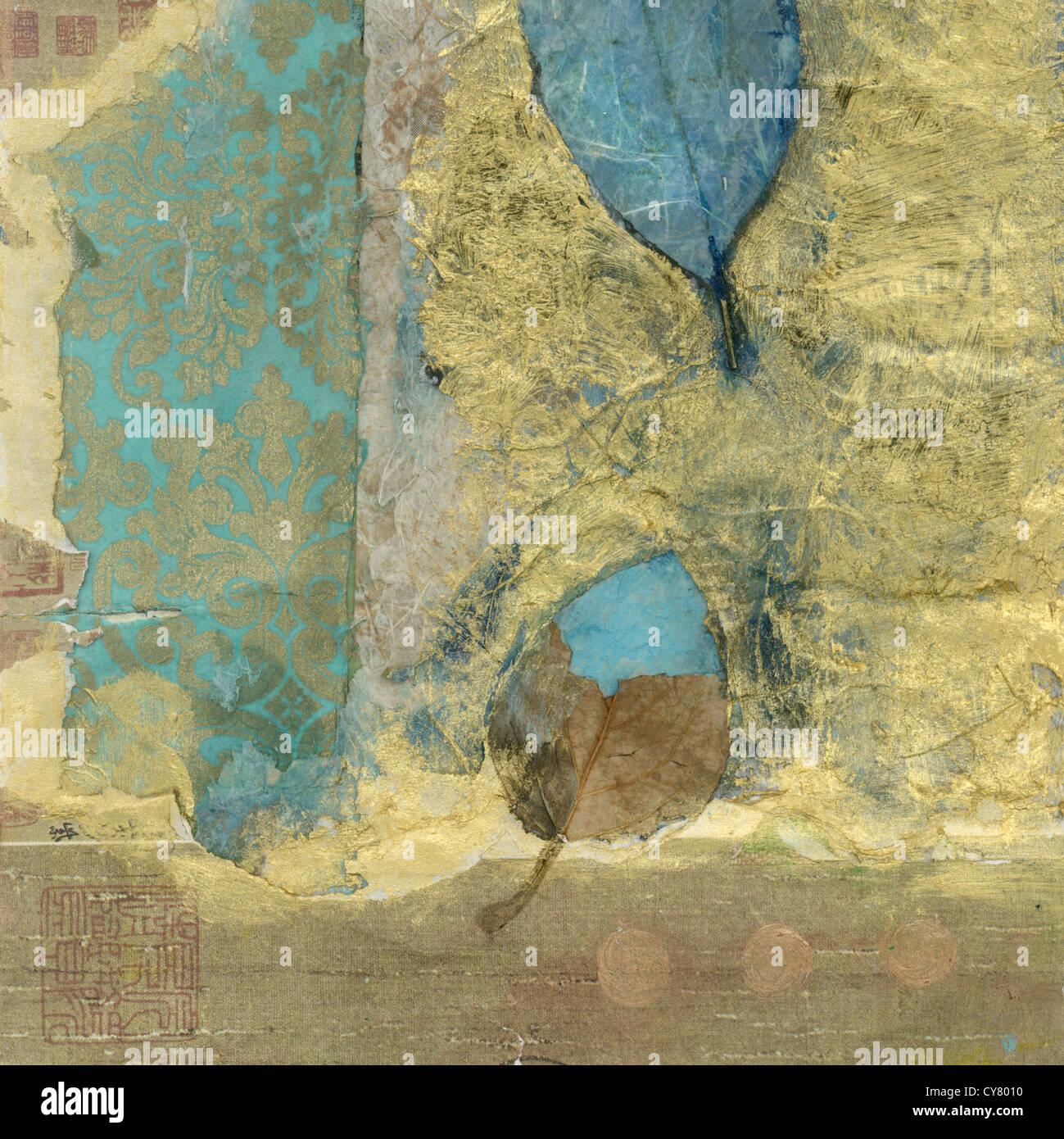 Resumen medio mixto collage wabi-sabi hojas. Imagen De Stock