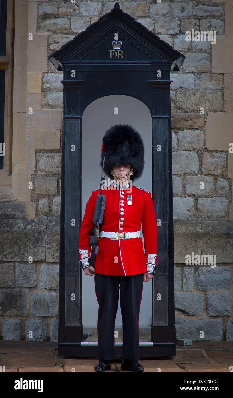 Soldado en rojo la túnica y bearskin tapa en la Torre de Londres. Foto de stock