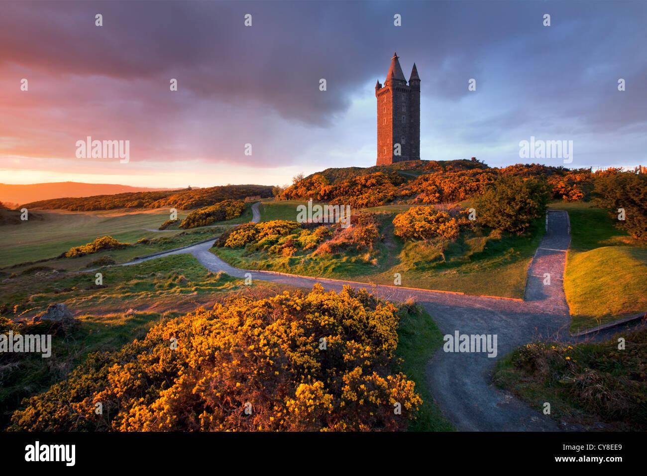 Scrabo Tower al anochecer, Newtownards - Irlanda del Norte. Foto de stock