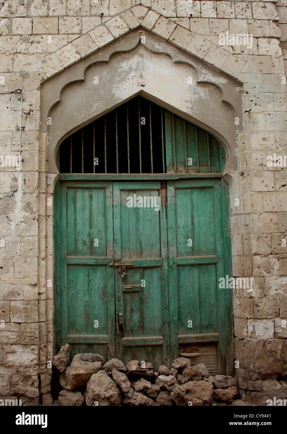 Puerta otomana en Massawa, Eritrea Foto de stock