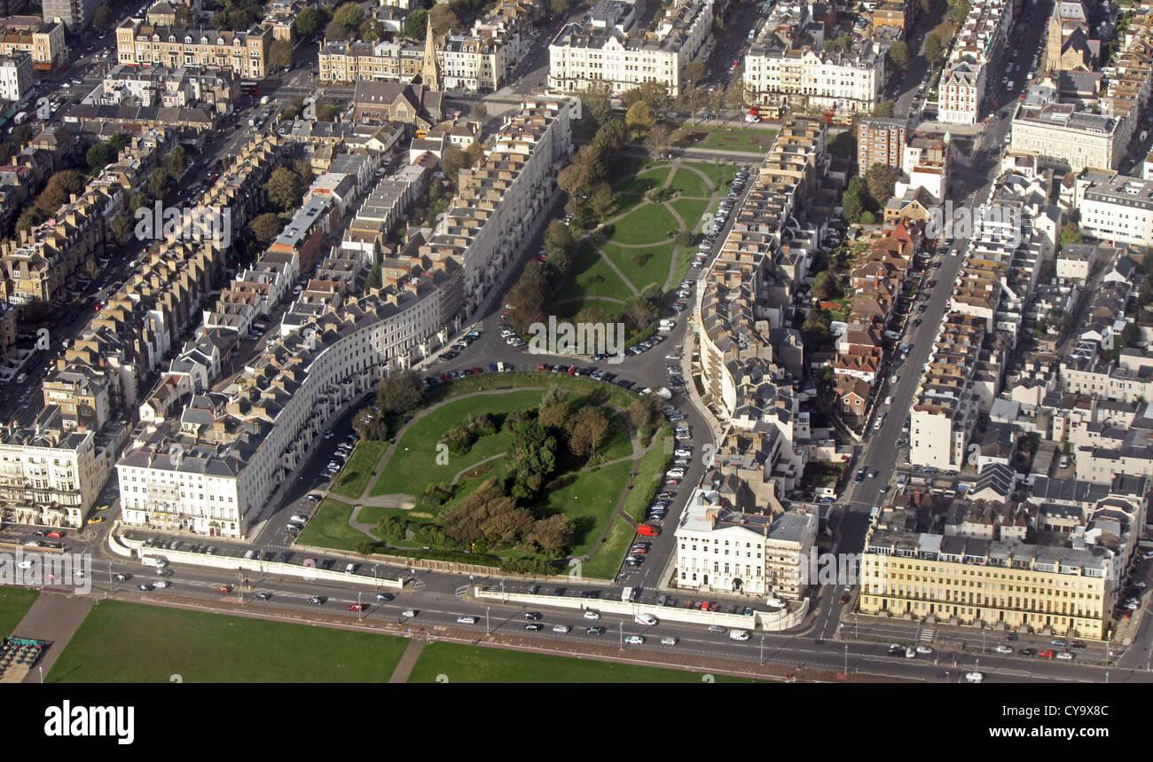 Vista aérea de Regency medias lunas y Palmeira Square, Brighton Imagen De Stock